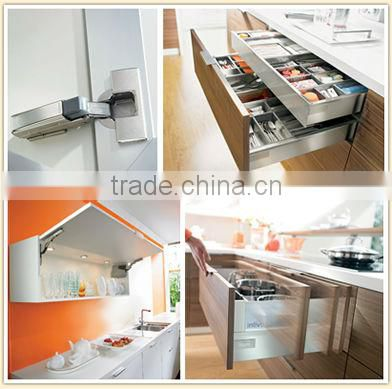 Modular Foshan kitchen funiture plastic cutlery tray kitchen cabinet with aluminium alloy skirting board solid wood kitchen cab