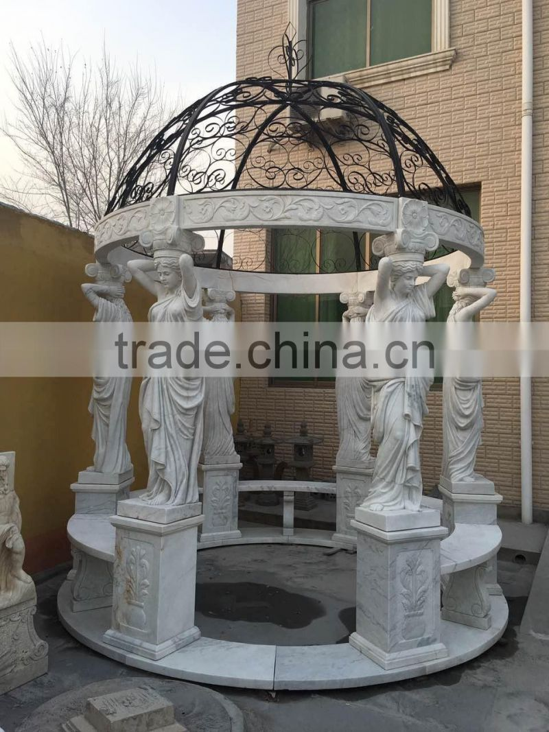 trade assurance white marble outdoor italian gazebo with iron dome NTMG-242S
