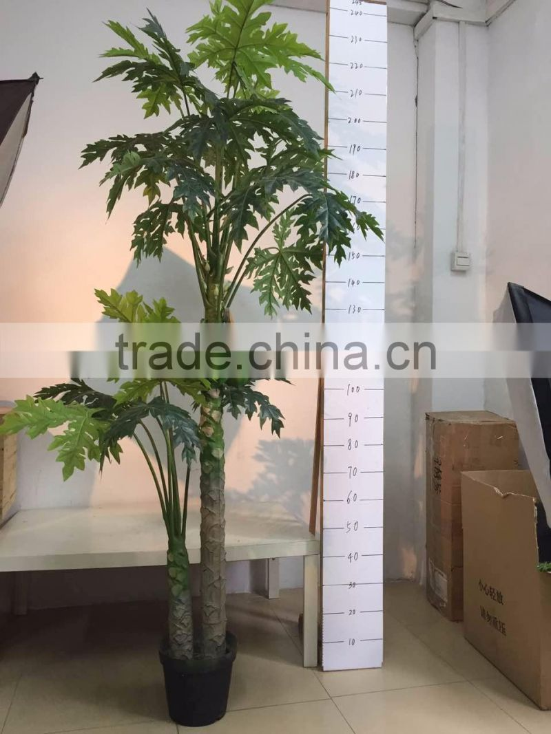 artificial tree bonsai ,artificial two bar papaya tree with fruit for terrace decoration