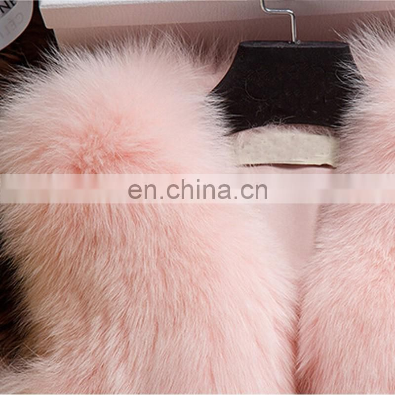 Newest design fox fur vest vertical stitching fox fur gilet ladyn outer wear