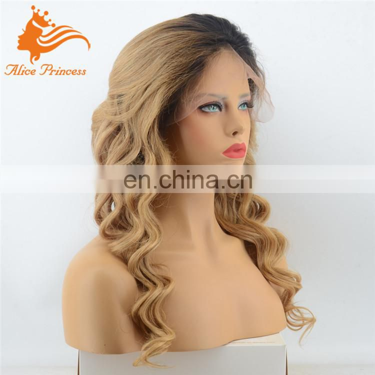 Nice Looking Smooth And Soft Body Wave Brazilian Virgin Highlighted Human Hair Full Lace Wigs