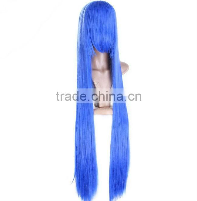 Afro Style Wig,Kosher Human Hair Wig,Heat Resistant Synthetic Lace Wig,Blue Color Fashion Cheap Party Tinsel Wig