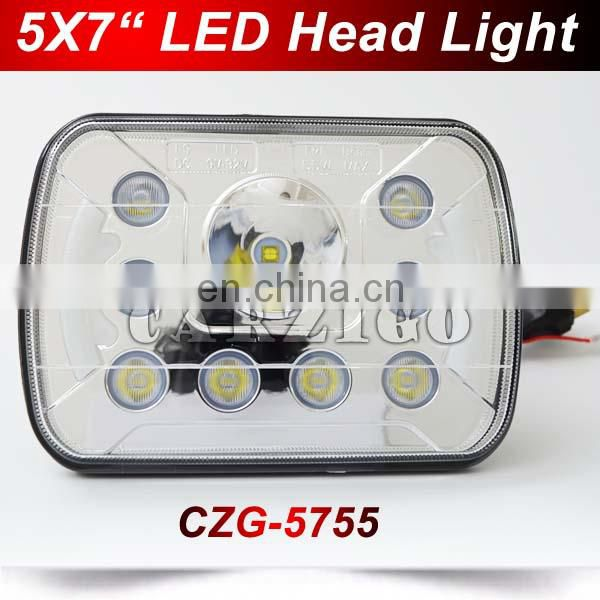 CZG-5780 2017 newest off road Hi/Lo beam 5*7 led head lamp h4 motorcycle led driving light for harley Davison forJeep wrangler