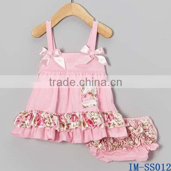 Boutique Wholesale Kids Clothes Adorable Knit Cotton Newborn Baby Girls Swing Top Bloomer Two Pieces Sets with Ruffles IM-SS010