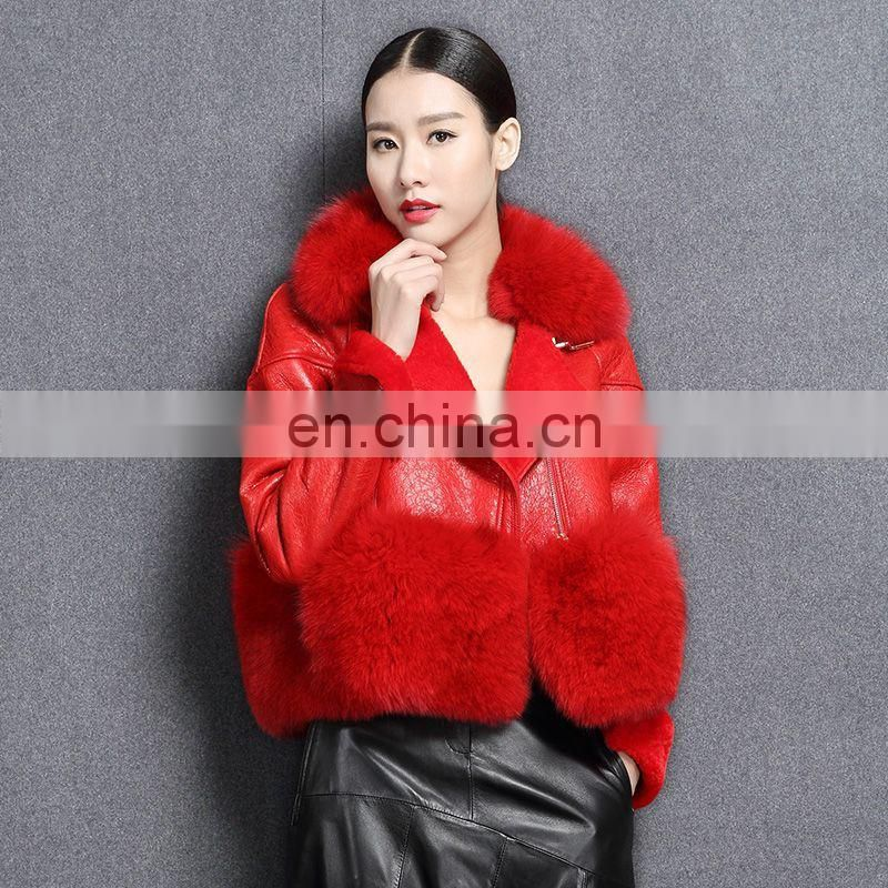 China Supplier Short Shorn Sheepskin Double faced Leather Jacket with Fox Fur Collars Coat