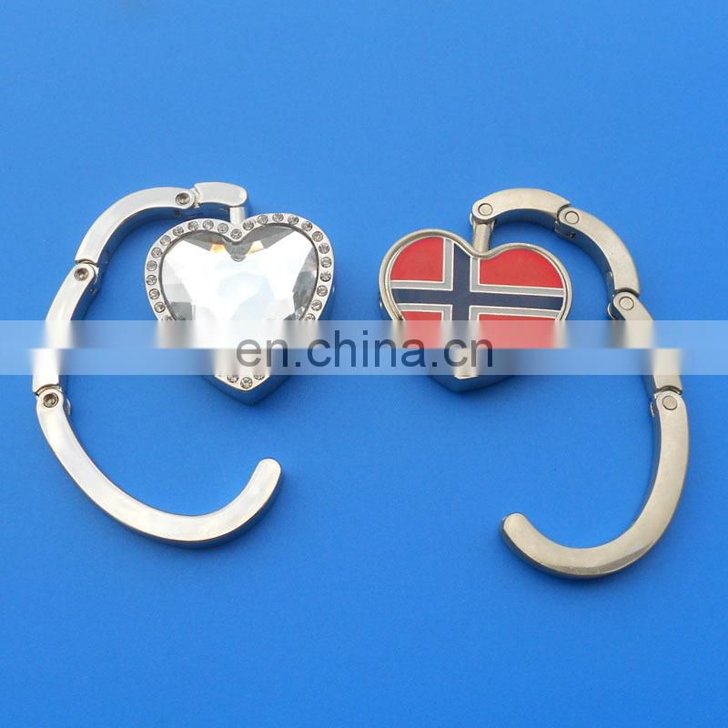 QUAY logo souvenir metal silver foldable bag hangers wholesale