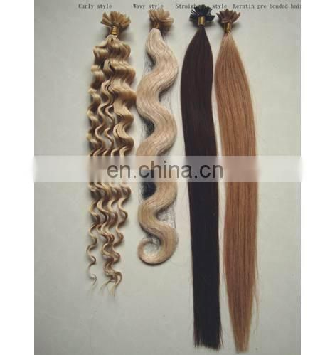 high quality remy curly u/i/v shape keratin pre bonded hair extension