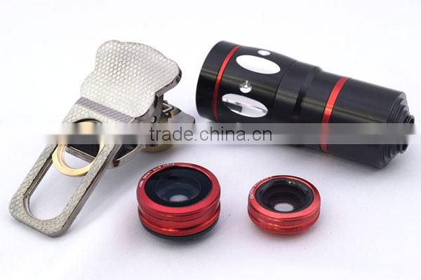 Universal Clamp Camera Lens 4 in 1 Wide Angle Macro Fisheye 10X Telephoto Camera Lens For iPhone/Samsung/HTC/iPad/Smartphone