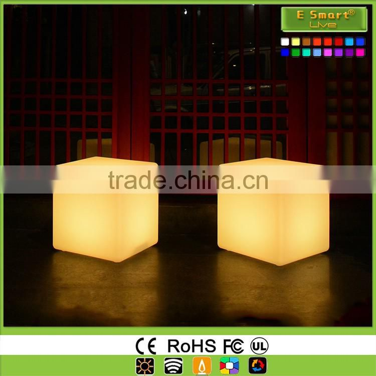 PE Plastic Rechargeable LED Cube / LED Cube Chairs / Light Cube Seat
