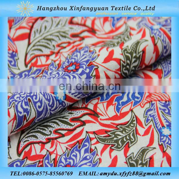 Linen viscose printed fabric for curtain