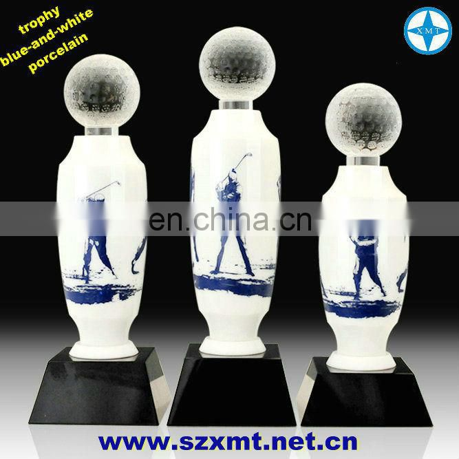 beautiful custom blue and white porcelain trophy for golf