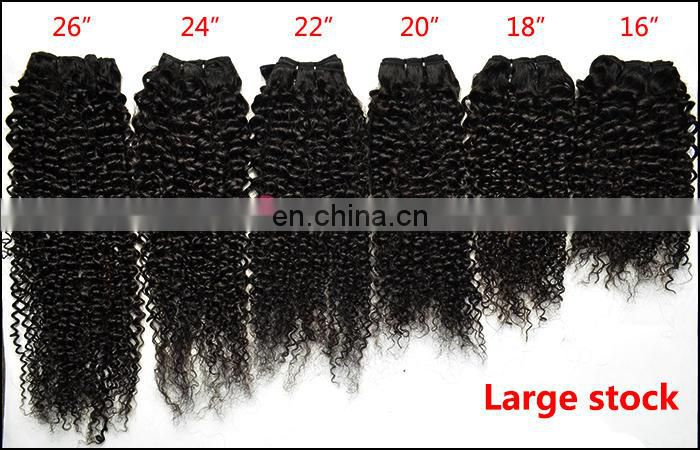 Hot Beauty Natural color virgin remy afro kinky wave 3b 3c curly hair waving hair weft