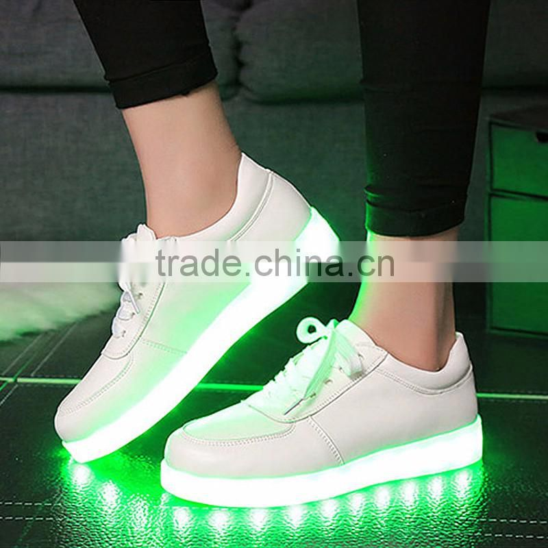 2016 big selling rechargeable colorful led luminous flash light lace-up casual shoes JK-001