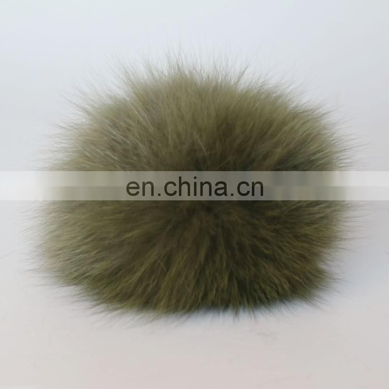 Army green fur pom pom lovely fox fur ball accessories factory supply