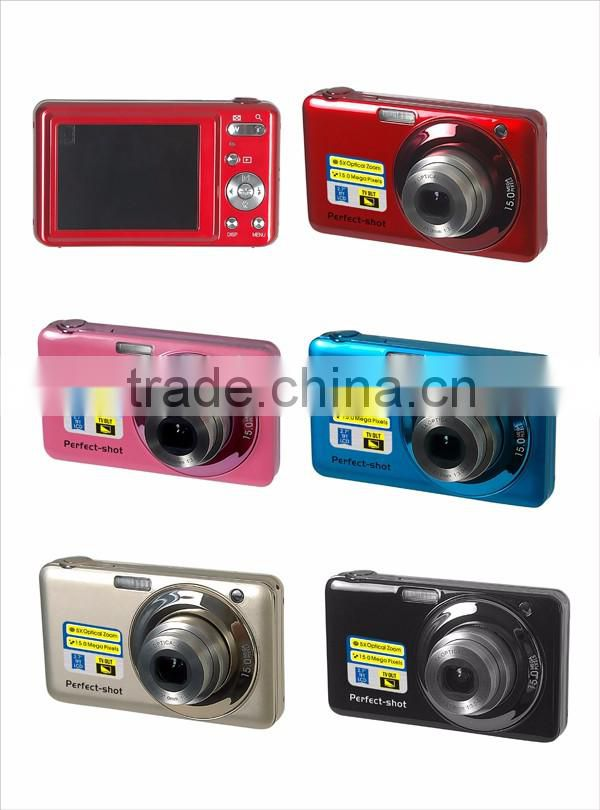 max 15mp digital camera with 2.7'' TFT display and 5x optical zoom camera