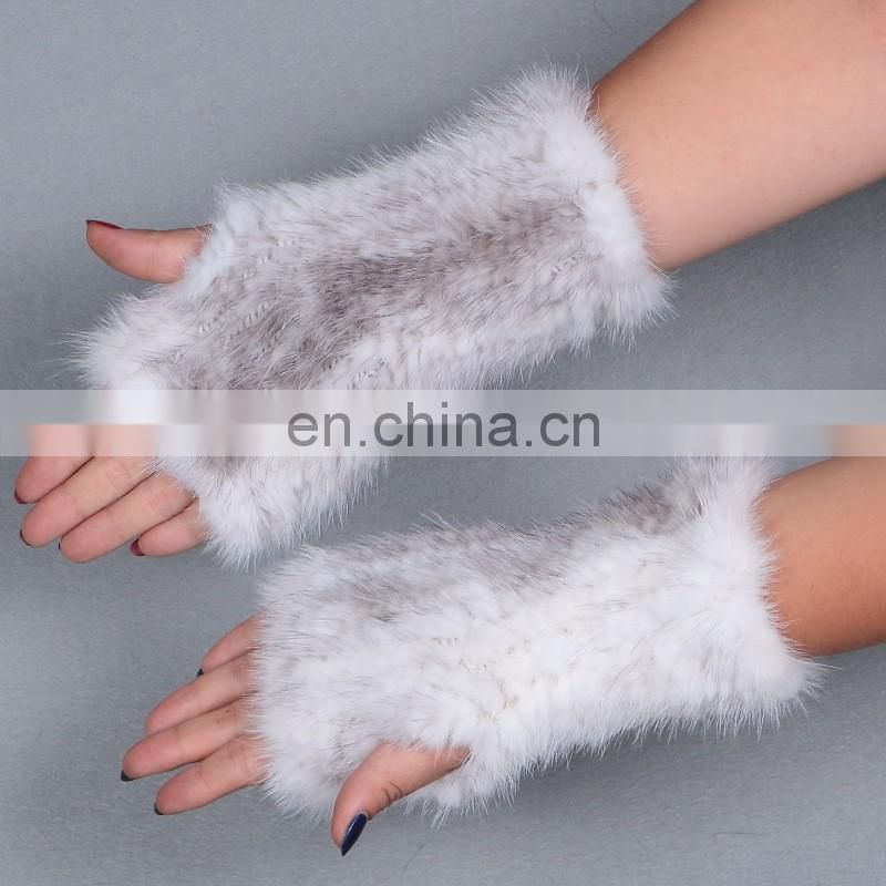 Winter weaven mink fur half finger gloves for girls fashion