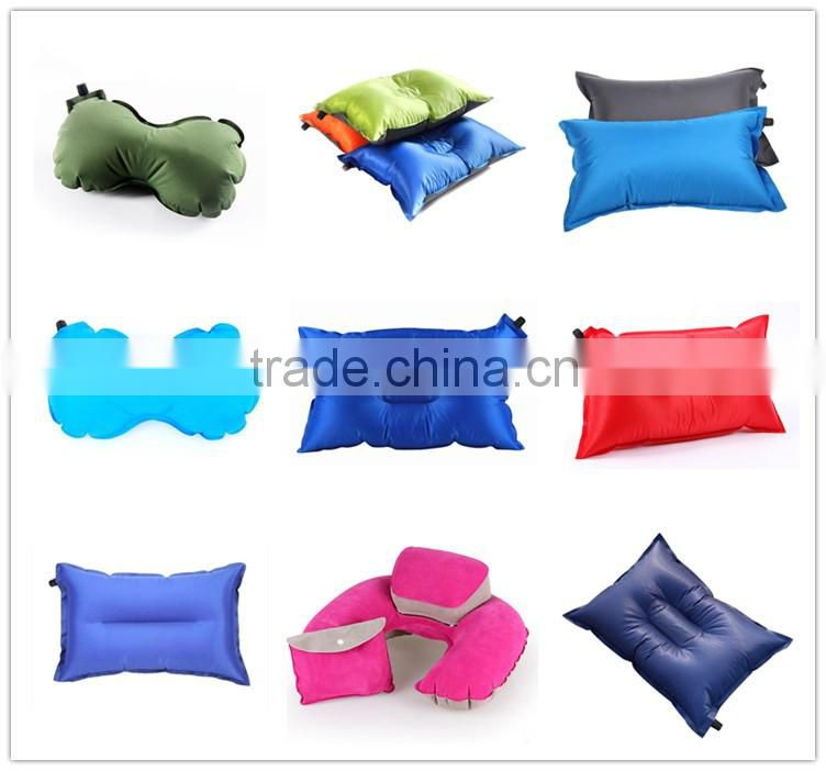 Outdoor lightweight compact foldable U shaped inflatable travel neck pillow
