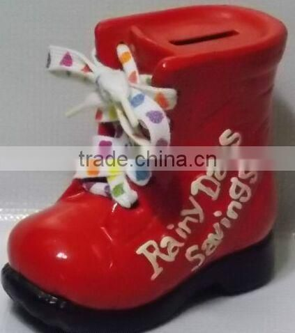 Yellow Rainy Day Savings Boot,Custom children shoe shaped coin bank,Wholesale plastic Shoes Piggy Bank