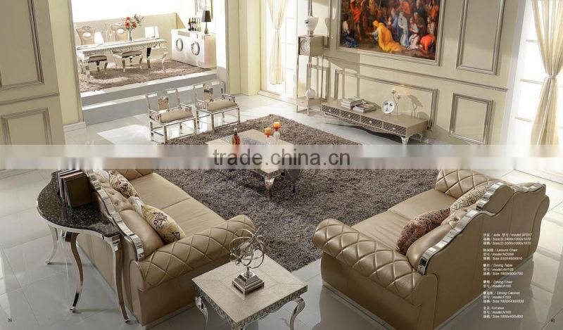 Hot selling modern dining room set luxury dining table/Leather dining table and chair