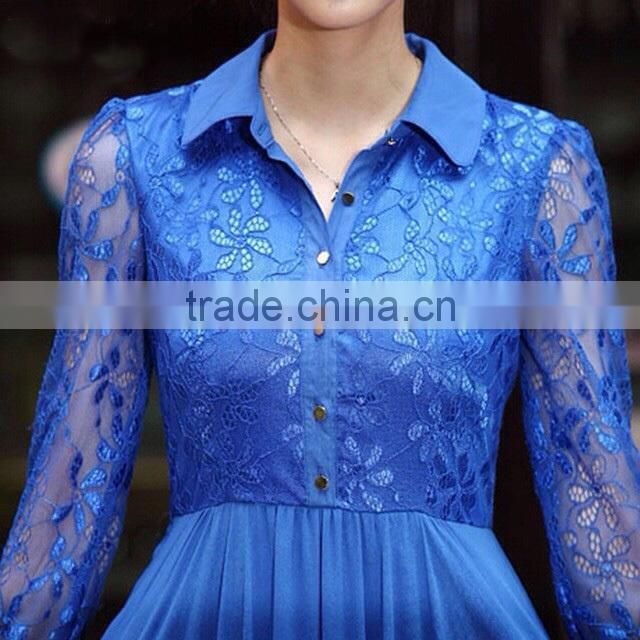 8040b94897b ... hot selling lace long sleeve maxi dress plain navy chiffon muslim women  long dress muslim long