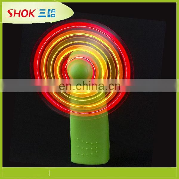 Hot sale plastic flashing LED fan with customized logo for promotion