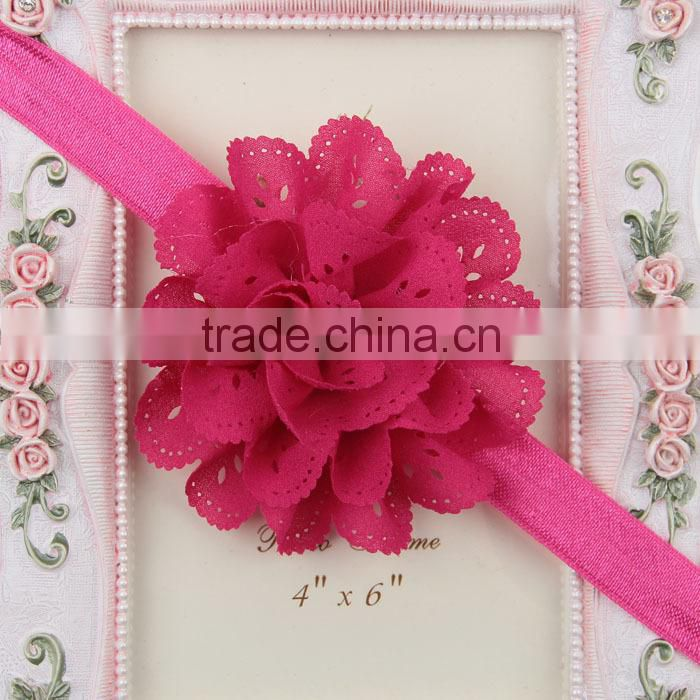 European and American Children babies take a hollow mesh wave chiffon flower stretch headband hair accessories MY-AC0007
