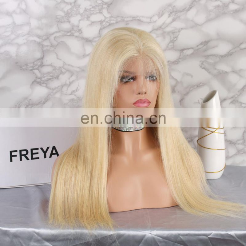 China hair factory INDIAN HAIR bleached knots full lace wig