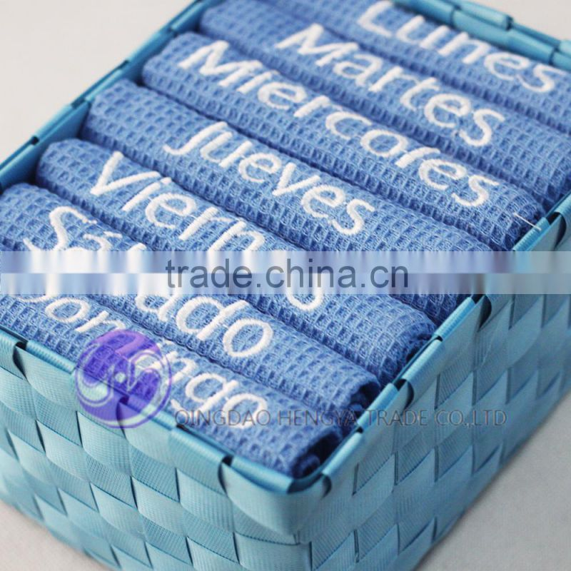 China supplier wholesale yarn-dyed embroidery design waffle weave cotton packing kitchen tea towel