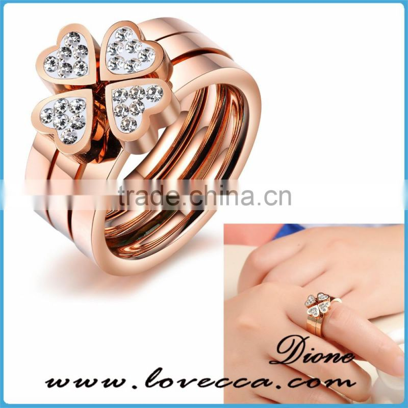 Wholesale bulk sale heart shaped rose gold plating stainless steel ring women jewelry