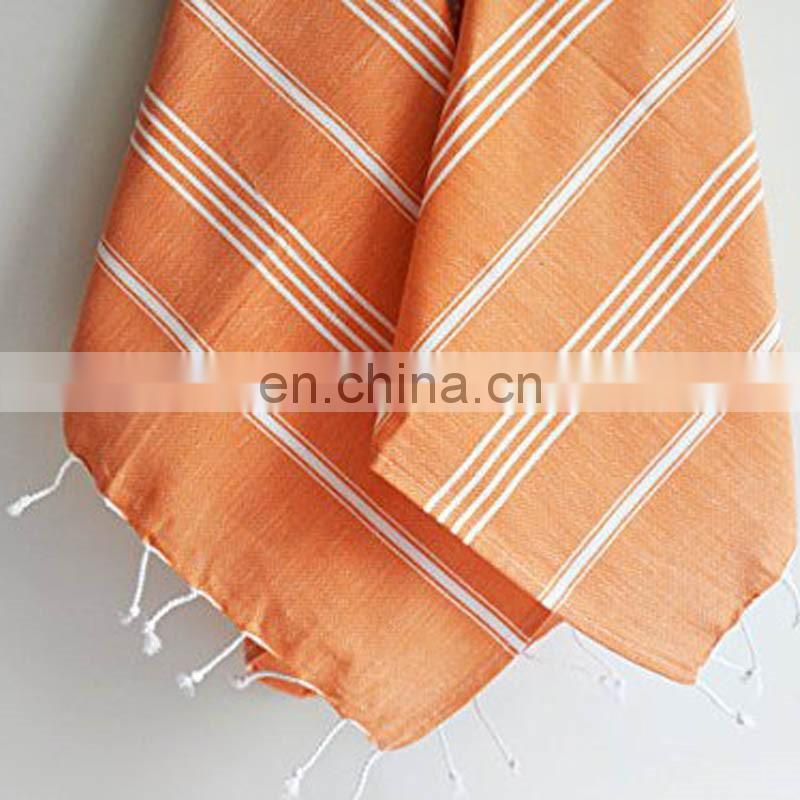 custom oversized pure cotton striped turkish towel with fringes