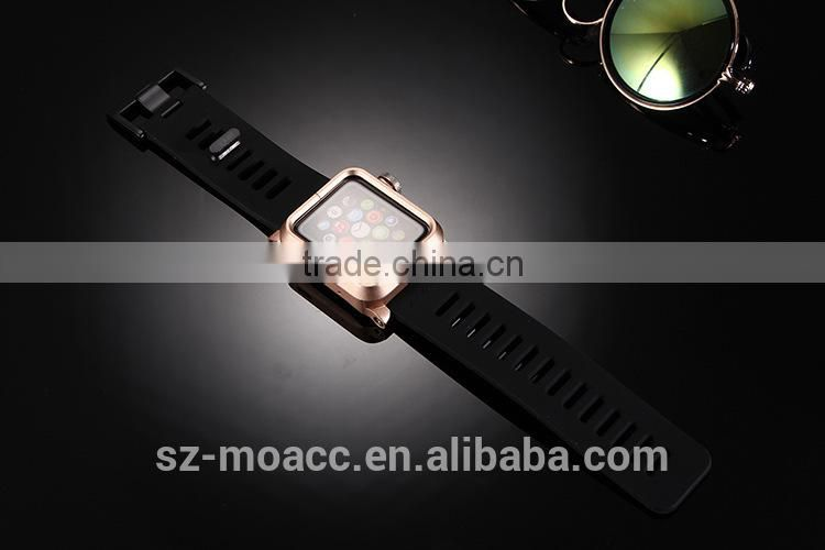 Silicone Watch Band Wrist Strap For Apple Watch with metal case,for apple watch silicon band