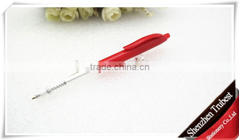 Retractable plastic transparent pen , transparent ballpoint pen