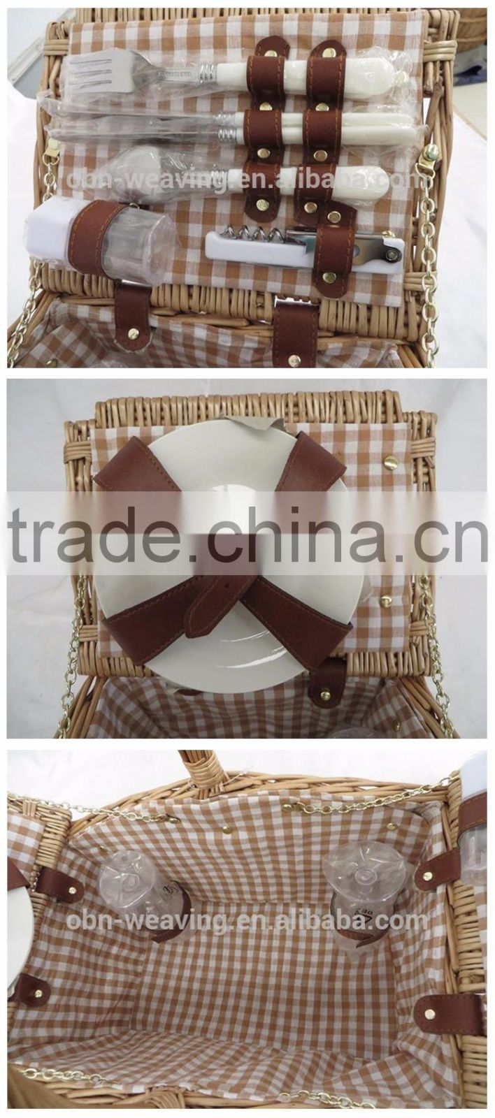 China Wholesale 2 Person Vintage Hanging Wicker Picnic Basket Set with Cutlery