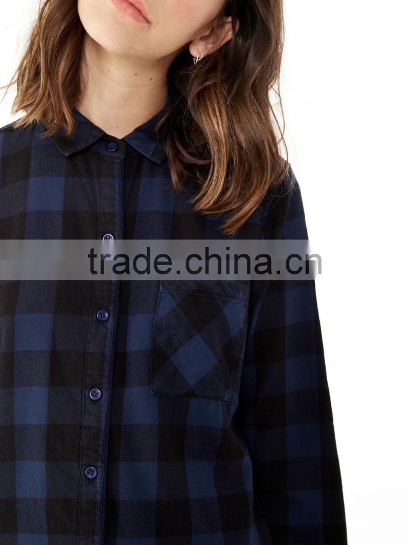 Beautiful woman's suit photo women with open legs ladies skirt and blouse stylish long sleeve yarn dyed flannel long shirt dress