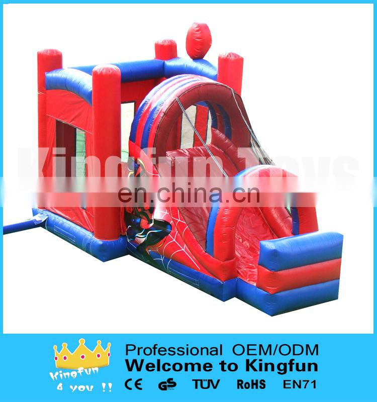 Spiderman inflatable bounce house combo with slide