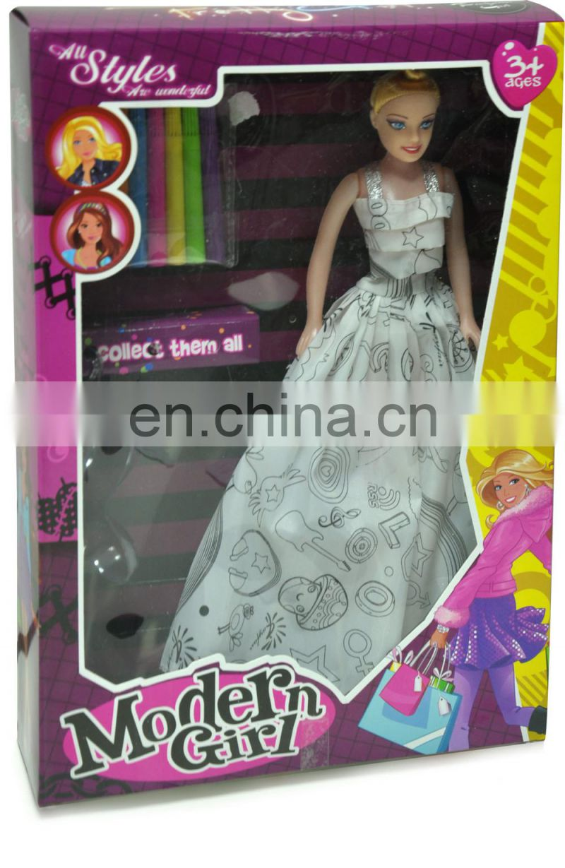 DIY painting fashion dressing up Bobby dolls toy for kids with color markers