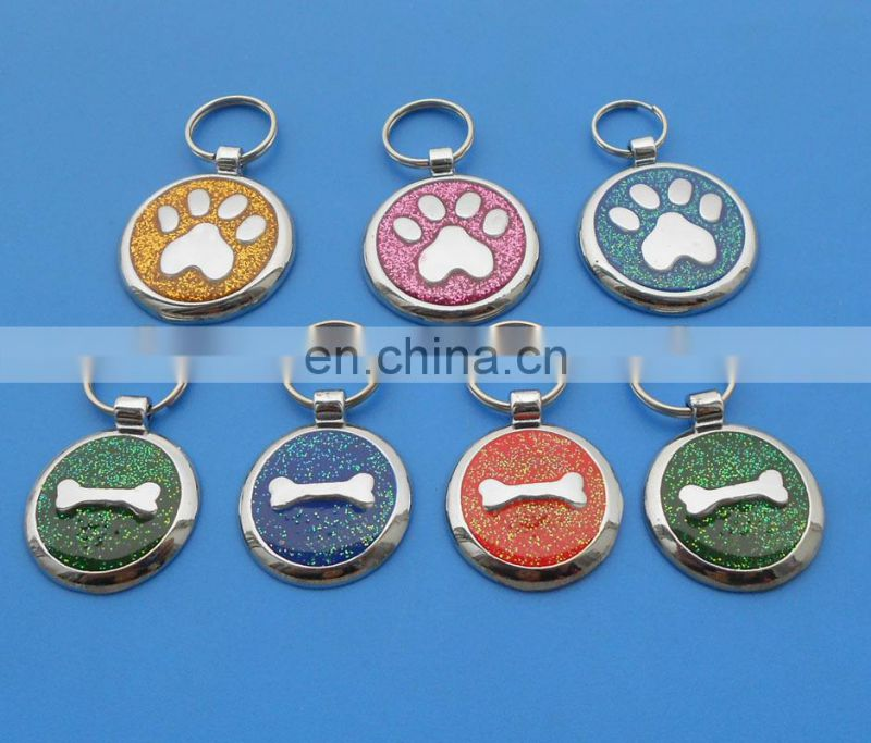 wholesale shiny yellow color dog tag custom paw logo glittering with epoxy pet id tag decoration