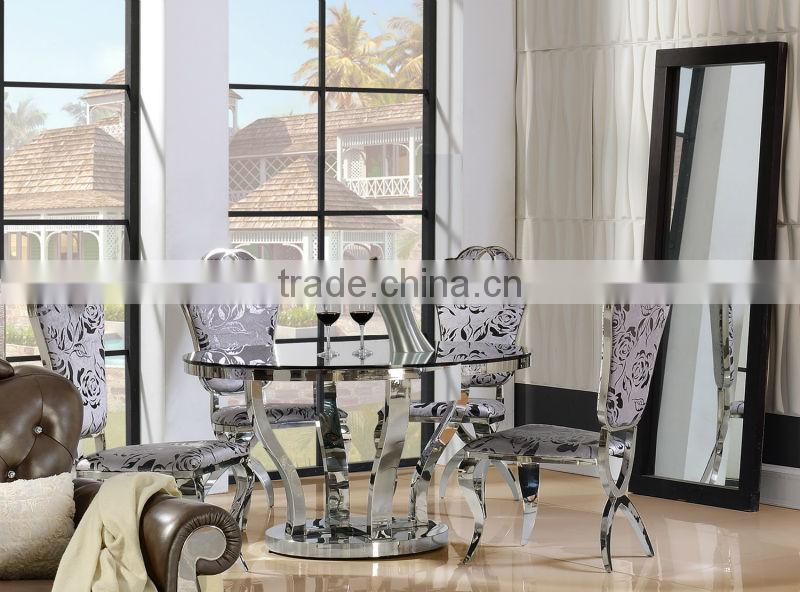 Promotion Modern dinning room furniture restaurant round glass table and chair AH6667-2