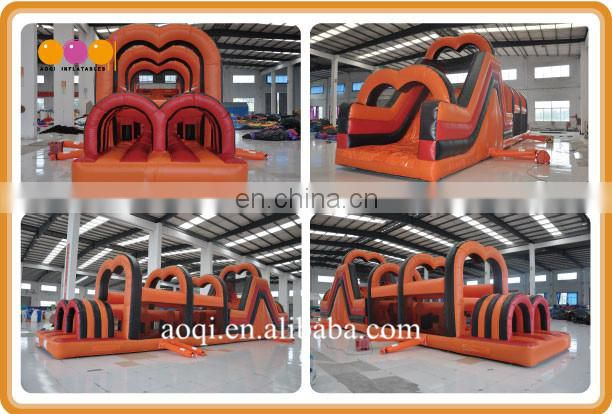 Manufacturer supply 2 lane inflatable bouncer obstacle course with hurdle run