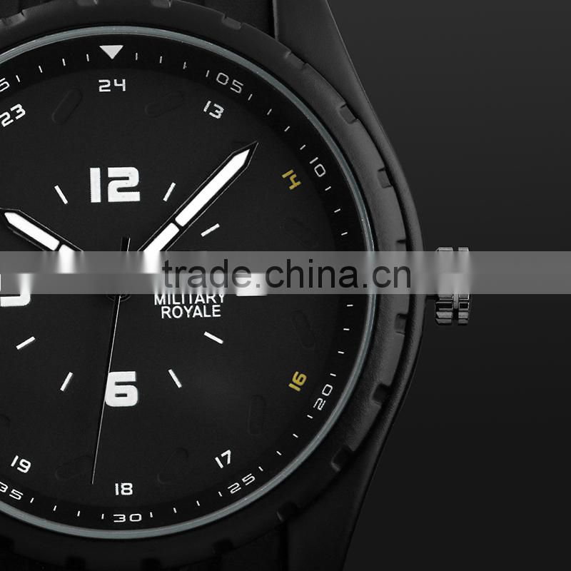 Wholesale watches Men's Black Rubber Strap Black Analog Mens Watches MR078