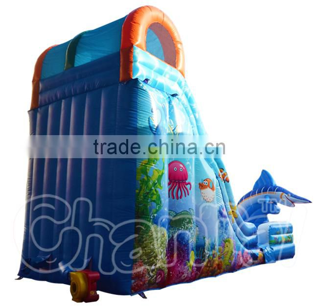 Inflatable dolphin water slide, Marlin Splash Slide, Inflatable