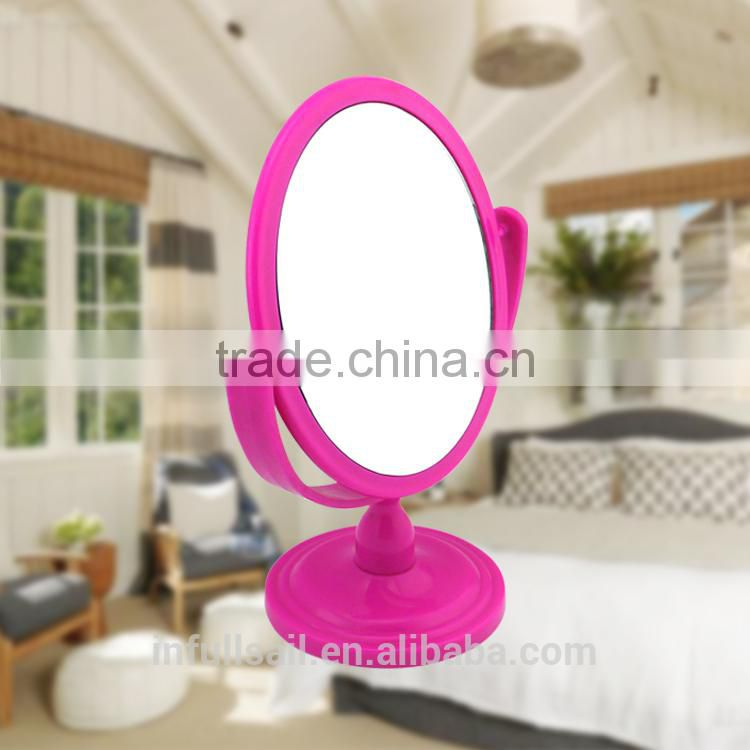 Plastic colourful double oval magnifying cosmetic/ table mirror