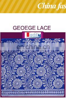 Nigeria new fashionable fabric print wax mix guipure lace fabric