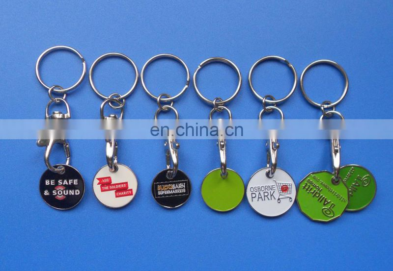 Canada shopping cart functional custom double sides printing trolley coin key chain