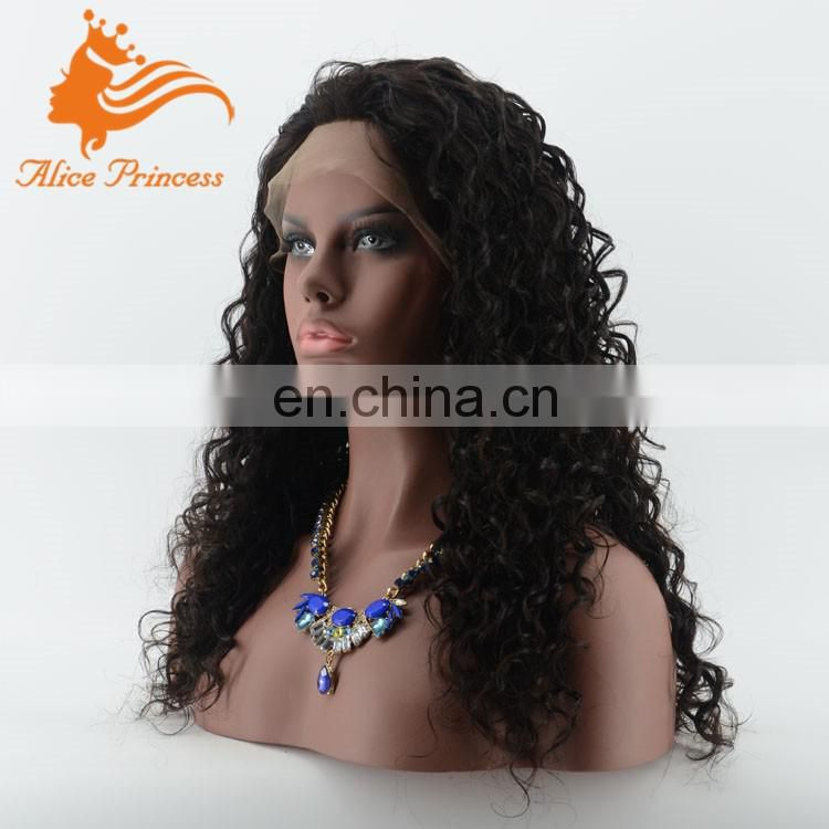 High 8A Grade Glueless No Tangle Natural Brazilian Or Indian Virgin Human Hair Curly Front Lace Wigs For Black Women