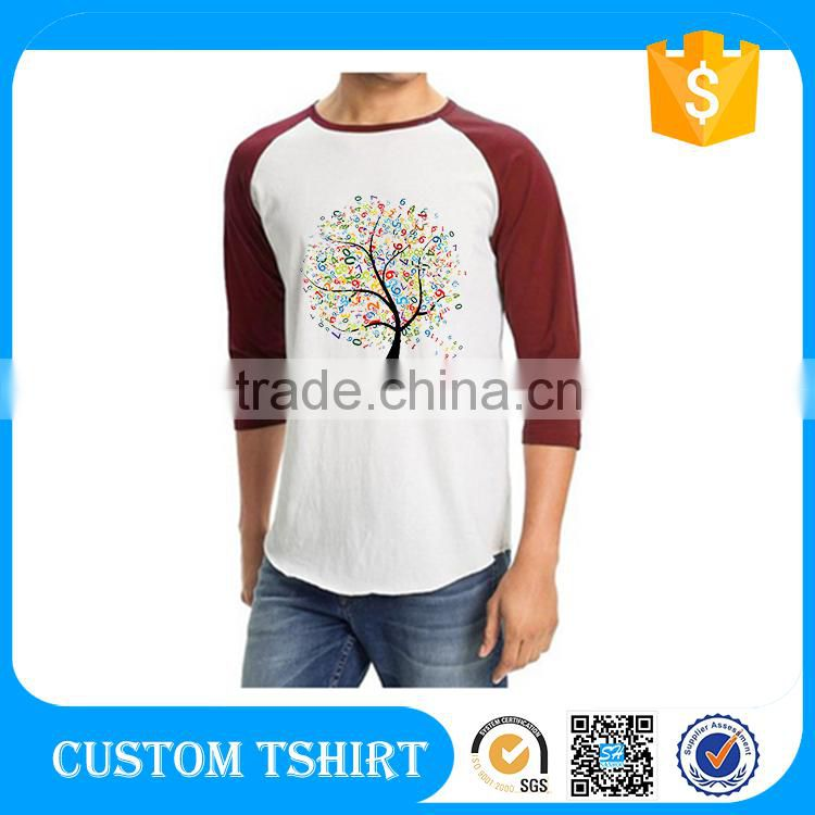 Black And White Raglan Sleeve Clothes Baseball T Shirt Raglan Man Custom T Shirt Printing Packaging
