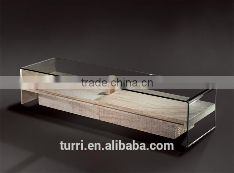 Rectangle White Travertine Coffee Table