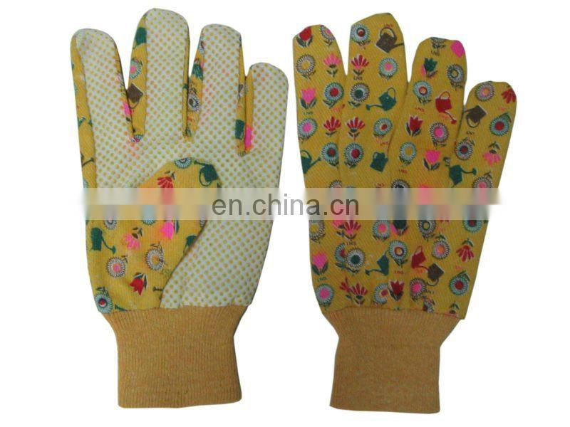 Dotted cotton garden glove,safety gloves dotted,printed garden gloves,cotton long safety gloves,best safety gloves