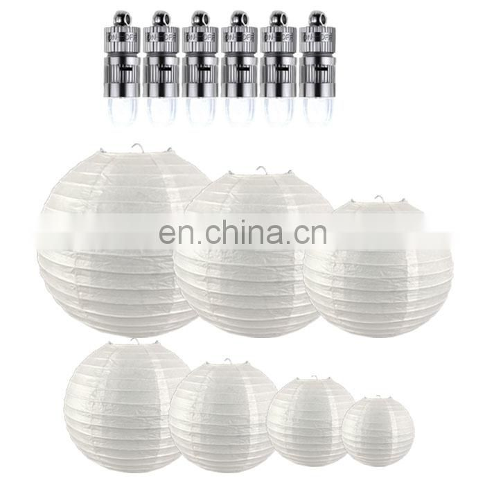 led paper lantern Chinese round paper lantern with led light per pack include 6pcs white different size(support custom pack)