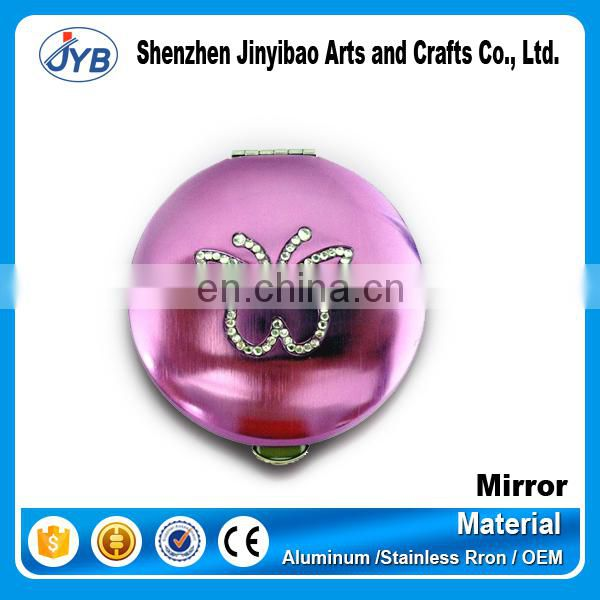 Women pocket romantic round shaped makeup cosmetic mirror